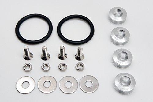 Attaches rapides en alliage aluminium universel pour pare-chocs coffre Fender hayon couvercles Kit, boulon M6 P1.0, Silver (Pack de 4)