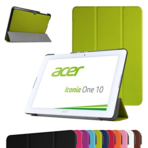 """Acer Iconia One 10 B3-A20 Schlank hülle,Mama Mouth Ultra Schlank Superleicht Ständer PU Leder Smart Shell hülle mit Standfunktion für 10.1"""" Acer Iconia One 10 B3-A20 Android Tablet-PC,Grün"""