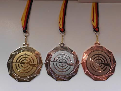 Medaillen Set - Große Stahl 70mm - Gold, Silber, Bronze, - Schütze - Schießsport - Schützen - Gewehr - mit Alu Emblem 50mm - Gold - Silber - Bronce - Medaillenset - mit Deutschland-Band - (e103) - -