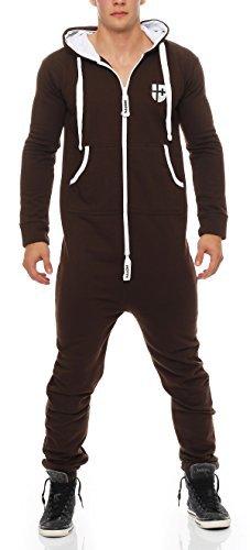 Hoppe Herren Jumpsuit Jogger Jogging Anzug Trainingsanzug Overall Onesie (L, braun )