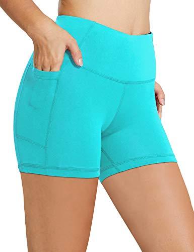 Große Hohe Activewear (BALEAF Damen Kompressionshose 20,3 cm / 12,7 cm hohe Taille Workout Yoga Laufen Kompressionshose Bauchkontrolle Seitentaschen - Grün - Groß)