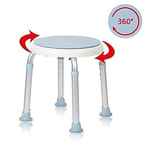 Hengmei – Taburete giratorio de 360 °, para ducha, altura regulable, asiento de baño
