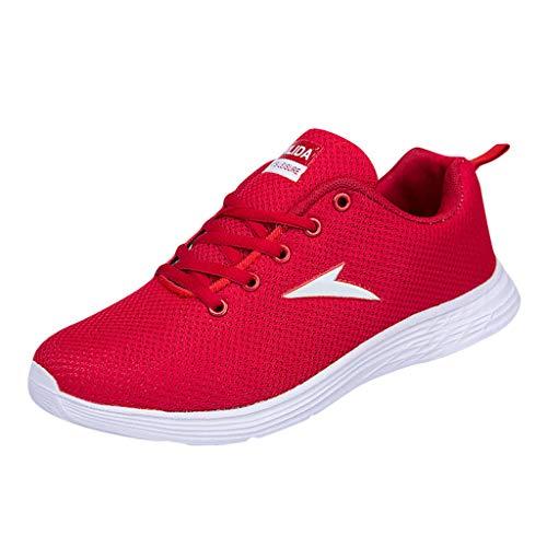 AIni Herren Schuhe Mode 2019 Neuer Heißer Beiläufiges Turnschuhe Lässige Mesh Atmungsaktive Laufschuhe Runder Zeh Sneakers Freizeitschuhe Partyschuhe (40,Rot)