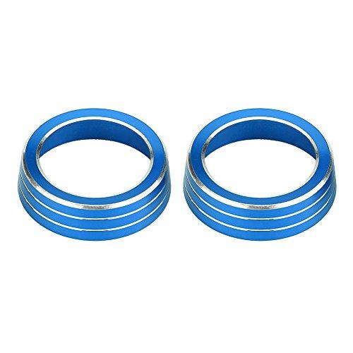 Streifen-taste Abdeckungen (QIilu 2 stücke Aluminium Klimaanlage Schalter Taste Trim AC Volumen Knopf Ring Abdeckung(Blau))