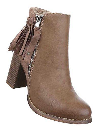 Damen Stiefeletten Schuhe Boots Designer Schlüpfstiefel Mit Fransen Schwarz Braun