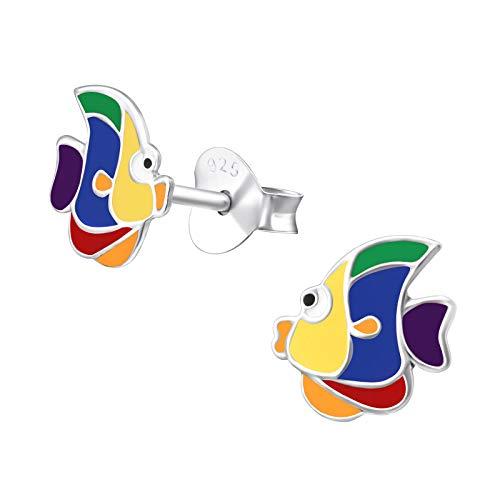 Laimons Mädchen Kids Kinder-Ohrstecker Ohrringe Kinderschmuck 7mm Fisch Blau, Gelb, Rot Sterling Silber 925