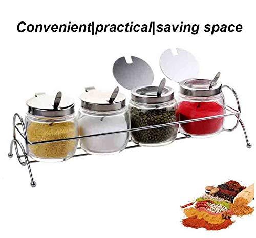 CSPFAIRY 5 Stück/Set Clamshell Design Gewürzgläser Groß Kapazität Bleifreies Glas Spice Box Kitchen Seasoning Jar Bequem Praktisch Geeignet für Jede Familie (Clamshell-box)