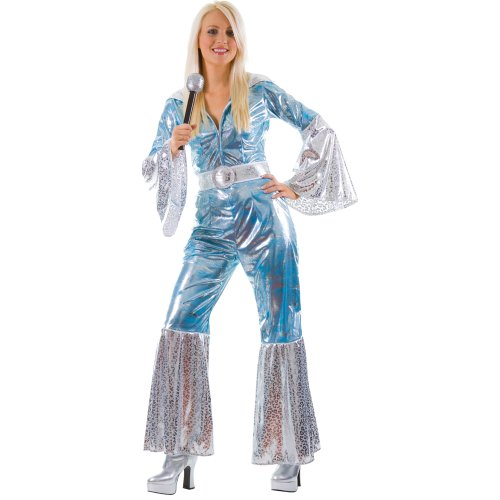 S LADIES WATERLOO BLUE/SILVER COSTUME FOR ABBA 70S 80S FANCY DRESS (DISFRAZ)