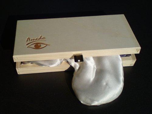 Amedo Augenkissen mit Augentrost und Amaranth, Bezug aus Seide, inkl. Holzschatulle