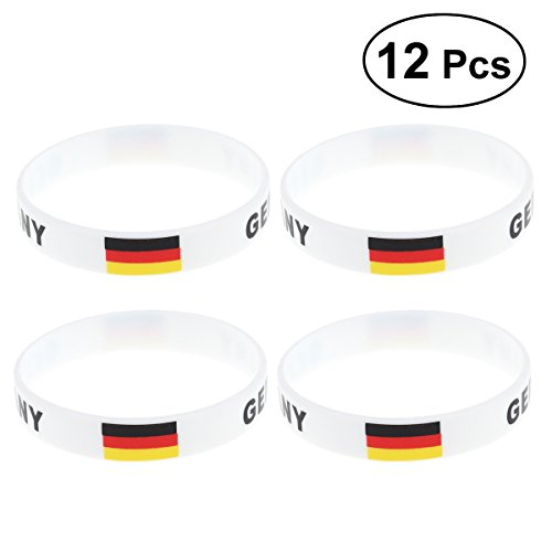 YeahiBaby Silikon Armbänder WM Flagge Fahne Deutschland Land Armband Fanartikel Fussball 2018 WM 12...