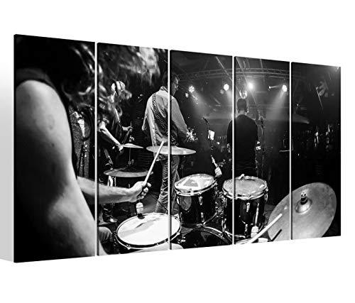 Leinwandbilder 5 teilig XXL 200x100cm schwarz weiß Musik Bühne Disko Schlagzeug Gitarre Lichter Druck auf Leinwand Bild 9BM1797