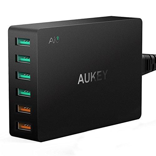 AUKEY Quick Charge 3.0 Caricabatterie USB da Muro 6 Porte 60W