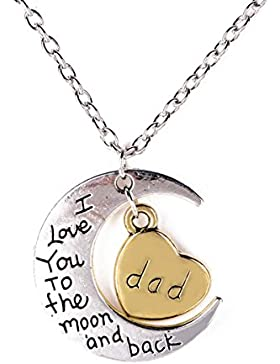I love you to the moon and back Familie Anhänger Halskette Kette Choker Dad