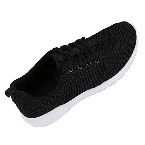 Damen Herren Sneaker Sportschuhe schwarz Turnschuhe Runners mit Blumen Print in mehreren Farben Schwarz Weiss Schwarz