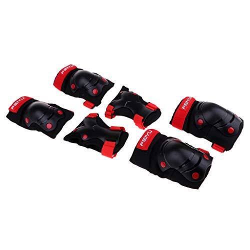 D DOLITY 6pcs Kinder Knieschoner Set, Kinder Skateboard Schutz (2 x Ellbogenschützer, 2 x Handgelenkschoner, 2 x Knieschützer) - Schwarz XS