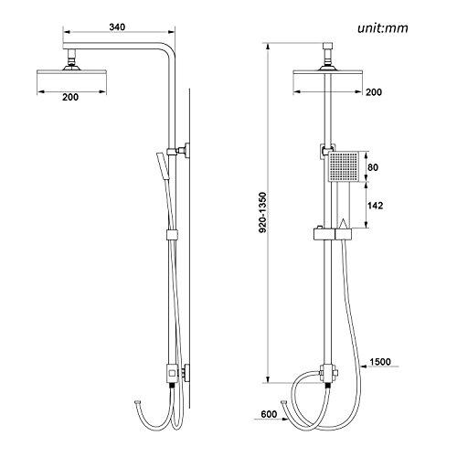 Auralum – Duscharmatur mit Brauseset und Wandhalterung, Chrom - 2