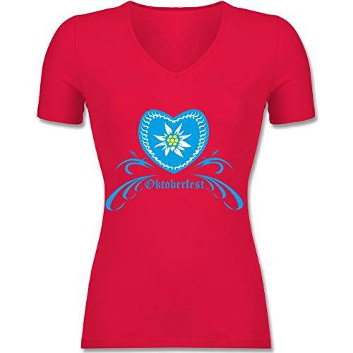 Shirtracer Oktoberfest Damen - Oktoberfest - Herz mit Edelweiss - Tailliertes T-Shirt mit V-Ausschnitt für Frauen Rot