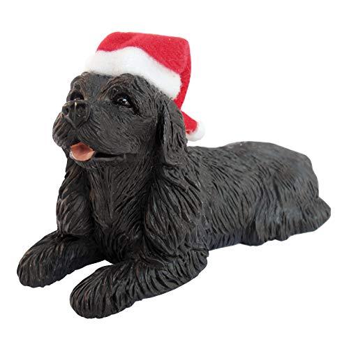 Sandicast Black Cocker Spaniel with Santa Hat Christmas Ornament -