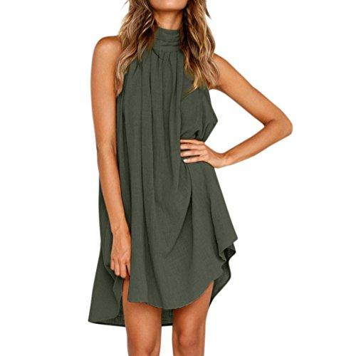 Frauen Sommer Baumwolle Leinen Kleid LASltd Damen Neckholder Ärmelloses Kleid Solid Casual Kleid Abend Party Kleid Chic Beach Dress Loose Minikleid (M, Grün)