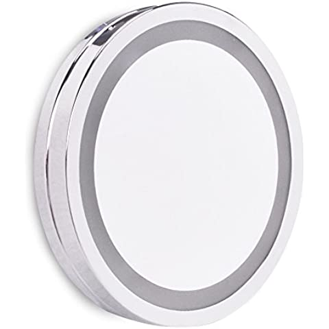 Practica Luz Espejo con Lupa LED MiniSun con Ventosa para Baño en Cromo Plateado a Pilas – Maquillaje y Afeitado