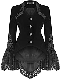Dark In Love Femmes Gothique Veste Équitation Velours Noir Lacets Victorien  Steampunk Vintage Queue de Pie 1adbedc7f477