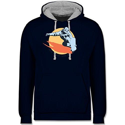 Wintersport - Do it live it love it - snowboard - Kontrast Hoodie Dunkelblau/Grau meliert