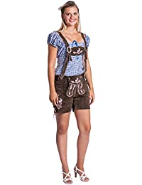 FROHSINN Trachten Damen Lederhose - traditionelle mittellange Trachtenlederhose für Oktoberfest - Aktuelles 2018 Modell