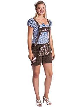 originale Frohsinn pantaloni bavaresi pelle - pantaloncini in pelle - le donne - rosso o nero o marrone con spalline...