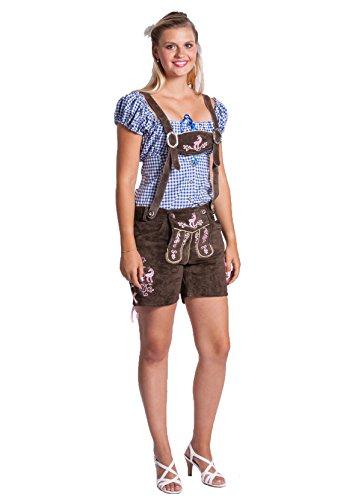 """Damen Lederhose \""""Schneekoppe\"""" sexy kurz - Original Frohsinn - Trachtenlederhose in unterschiedlichen Größen und Farben -(dunkelbraun/pink, 36)"""