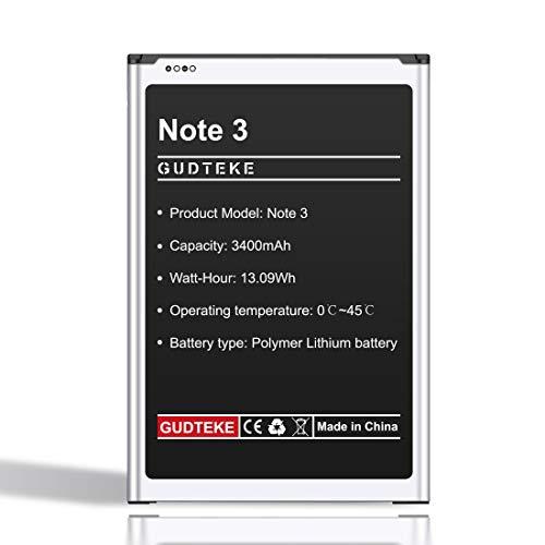 GUDTEKE Akku für Samsung Galaxy Note 3 Verbesserter 3400-mAh-Lithium-Ionen-Akku Ersatz für Samsung Note 3 Interner Akku