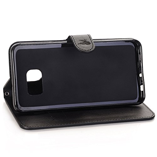 Etui Samsung S6 Edge Plus , Anfire Papillon Motif Peint Mode PU Cuir Étui Coque pour Samsung Galaxy S6 Edge Plus SM - G928F (5.7 pouces) Housse de Protection Luxe Style Livre Pochette Étui Folio Rabat Noir