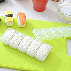 pittospwer Cooking Baking Sushi Mould Rice Ball 5 Roll Maker Non Stick Press Tool Cucina Bianca