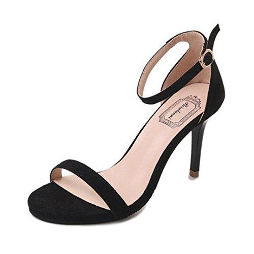 LUCKYCAT Prime Day Amazon, Sandales d'été Femme Chaussures de Été Sandales à Talons Chaussures Plates Cheville Commune Talons Hauts Parties Chaussures à Bout Ouvert 2018 (39EU, Rouge)