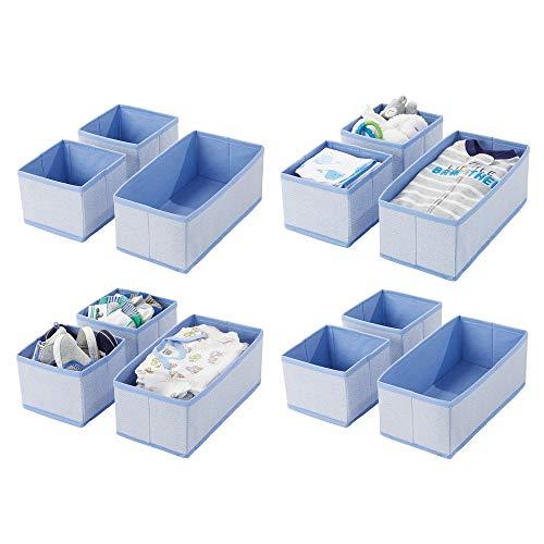 mDesign 12er-Set Aufbewahrungsbox - atmungsaktive Stoffbox mit Fischgrätmuster für Windeln, Lätzchen etc. - vielseitige Schubladen Organizer für das Kinderzimmer - blau