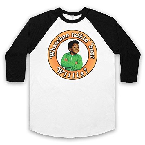 Inspiriert durch Diffrent Strokes Whatchoo Talkin Bout Willis Gary Coleman Unofficial 3/4 Hulse Retro Baseball T-Shirt Weis & Schwarz