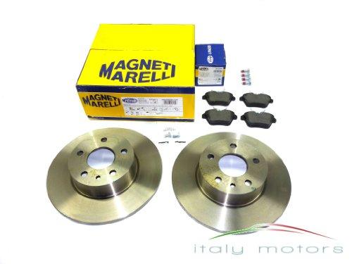 ALFA ROMEO 156 Kit de plaquettes de frein + Disques de frein arrière – Magneti Marelli – 77362343 + 60658566
