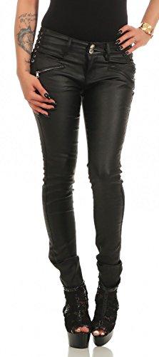Damen Bootcut Hose Leder-Optik Skinny (618), Grösse:XL, Farbe:Schwarz