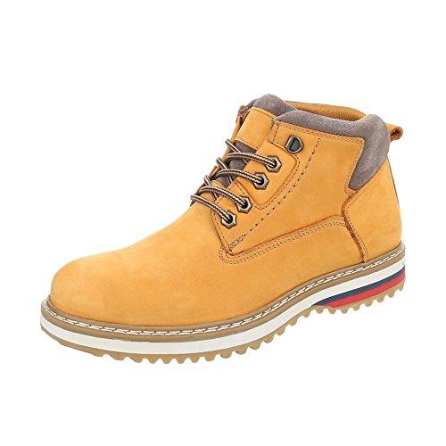 Stiefeletten Leder Herren-Schuhe Combat Boots Schnürer Schnürsenkel Ital-Design Boots Gelb Orange, Gr 47, Tnk-200-