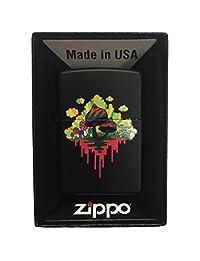 Zippo Custom Lighter - Drippy Mushroom - Regular Black Matte