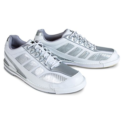 Brunswick Herren Phantom Bowlingschuhe, Weiß/Silber, Größe 8,5 (Hand Rechte Bowling-schuhe)