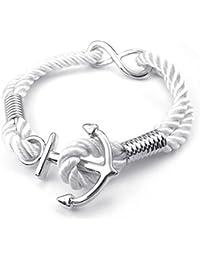 KONOV Schmuck Herren Damen Armband, Lieben Infinity Zeichen Anker, Seil Legierung, Weiß Silber