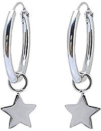 ENTREPLATA Pendientes Aro con Colgante de Plata de Ley 925 Estrella.