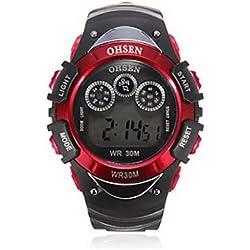 OHSEN YI-0815-1LCD Silicone Digital Quartz Sport Men Wrist Watch Red