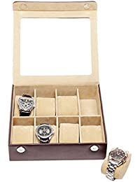 Essart PU Leather Watch Organiser Box for 8watches-Brown