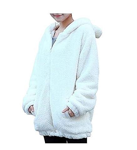 hqclothingbox Women Teddy Bear Ear Coat Hoodie Hooded Outerwear