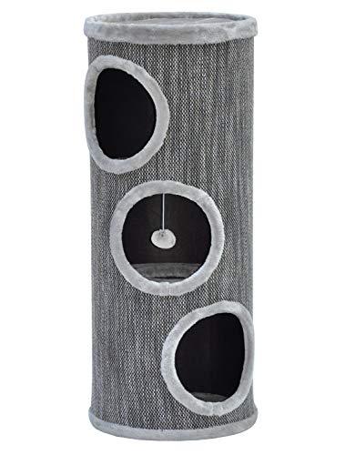 nanook Katzen Kratztonne/Kratzbaum Tower 100 - XL 40 cm Ø - mit großen Öffnungen - Höhe 100 cm - grau - stabil -