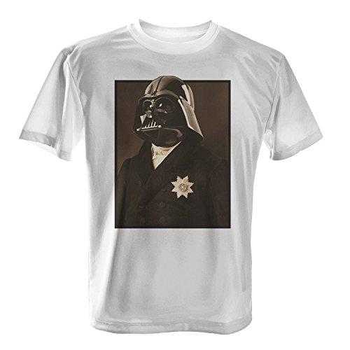 Fashionalarm Herren T-Shirt - Sir Va-Der | Fun Shirt mit Darth Motiv als Geschenk Idee für Wars Star Dark Lord Darth V. Fans Weiß