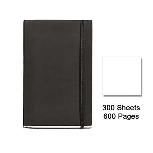 basicos-mr-10417-flexible-leather-notebook-8-300-sheets-plain-with-rubber-black