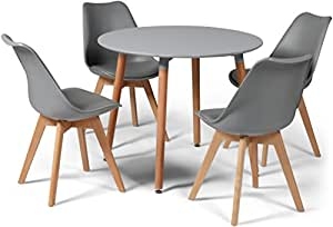 Your Price Furniture.com Toulouse Tulip Eiffel Style Dining Set - Grey 90cms Small Round Table And 4 Grey Chairs