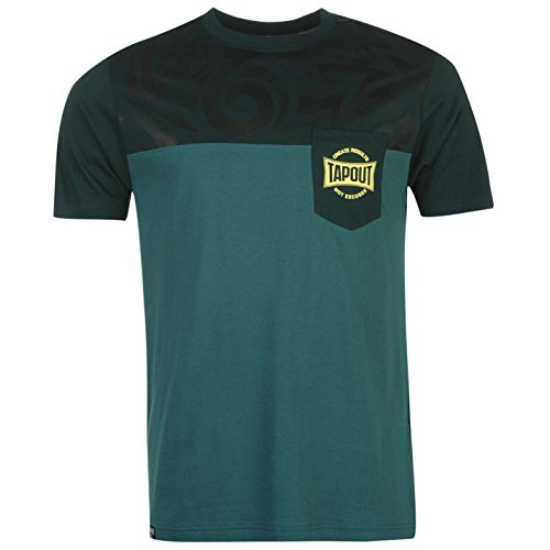 Tapout Herren Tonal Print T Shirt Kurzarm Rundhals Baumwolle Regular Fit Kiefer/Wald Large (Top Tonale Logo-print)